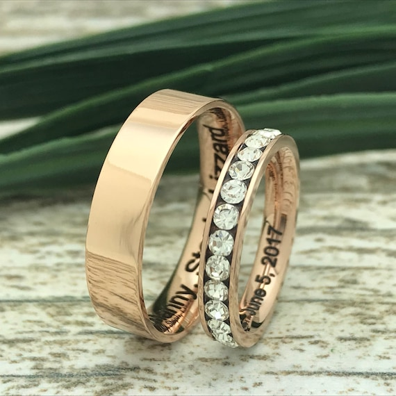 Roman Numeral Ring 3mm Rose Gold Titanium Ring Purity Ring Engraved Date Ring Eternity CZ Ring Coordinates Ring Couples Names Ring