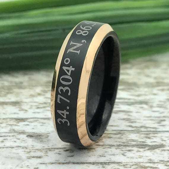 Wife Name Ring Custom Date Ring 8mm Freemason Design Two Tone Tungsten Ring Coordinates Ring Roman Numeral Ring Family Name Ring