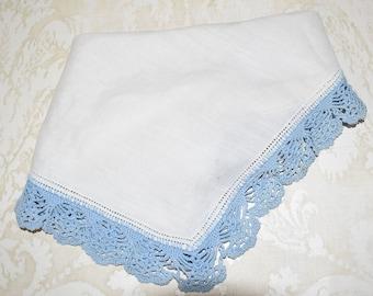 Please View Description. 3 Cotton Handkerchiefs with hand crocheted edgings