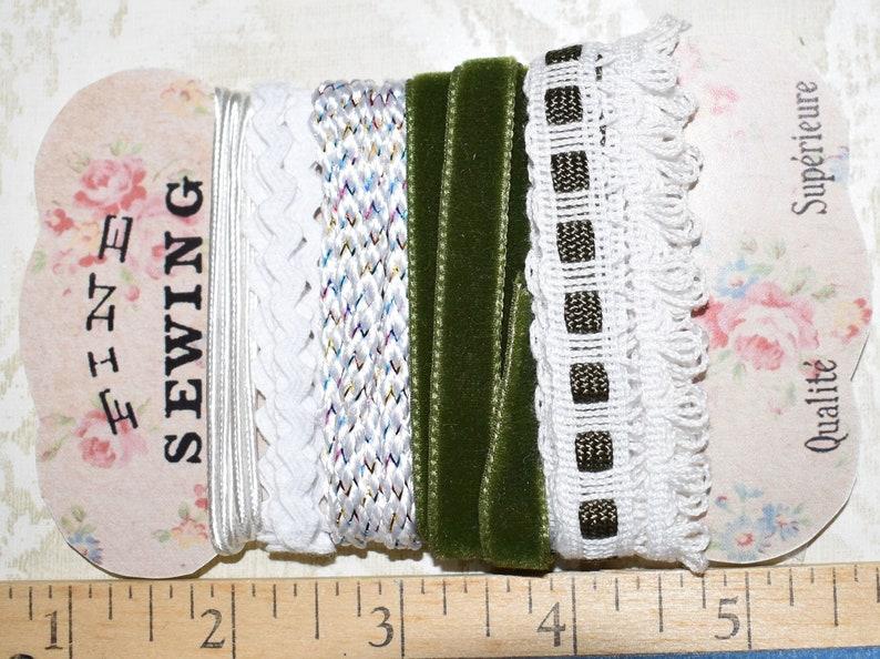 Velvet Lace Ribbon Green White Rick Rack Ribbon Bundle #1216 Junk Journal Ephemera Mixed Media Collage Craft Supplies
