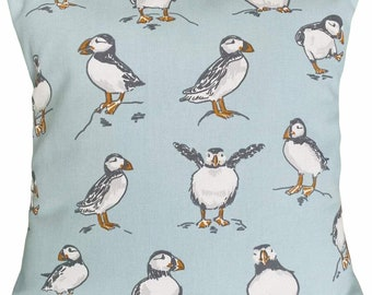 Puffins cushion cover - Dancing Puffins - Happy Puffins - Posing Puffins - Jumping Puffins - Coastal Puffins - Seaside Puffins - Soft blue