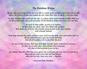 "The Rainbow Bridge poem - Digital file download - 10"" x 8"". JPG and PDF. Pet loss. Pet sympathy. Dog, Cat."