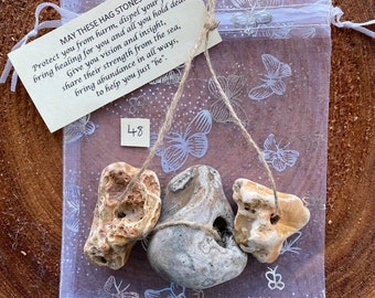 Hag stone trio 48 - LARGE - Protection amulet - Witch / Adder / Wishing stones with a unique Blessing for Protection Healing & Abundance