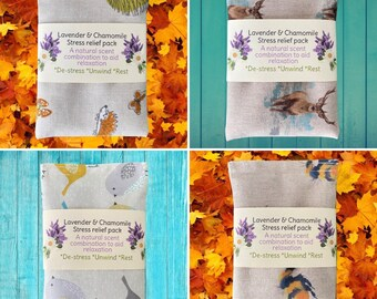 """Stress relief Wheat pack with Lavender and Chamomile. Microwaveable. 4 designs - Bees, Birds, Stags or Owls. 6"""" x 4"""""""