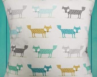 Fox cushion cover - Scandi Foxy fox print cushion cover - Ochre, Grey, Teal, Duck egg blue
