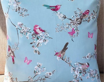 Birds and Butterflies cushion cover - Blue and Pink cushion cover - Floral - Countryside - Blossom - Pretty birds - Pink butterflies
