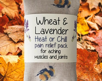 """Wheat bag, BIG Bees, Wheat & Lavender Heat pack/Chill pack, Microwave/Freezer, Soothing,Aromatic,Therapeutic, 16""""x4.5"""