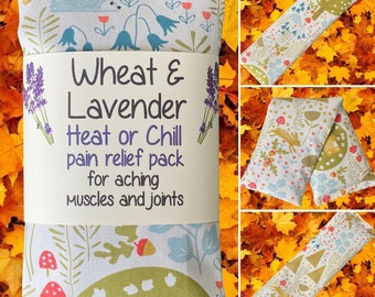 """Wheat bag, Countryside, Wheat & Lavender Heat pack/Chill pack, Microwave/Freezer, Soothing, Therapeutic,16""""x4.5"""""""