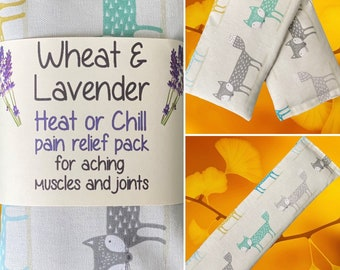 """Wheat bag, Scandi Fox, Wheat & Lavender Heat pack/Chill pack, Microwave/Freezer,  Soothing,  Therapeutic,16""""x4.5"""""""