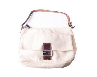 a52ad3affb22 Vintage Fendi Cream 90s Zucca Handbag