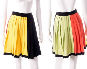 a08f1e0bf4 Gianni Versace Colorblock Pleated Skirt