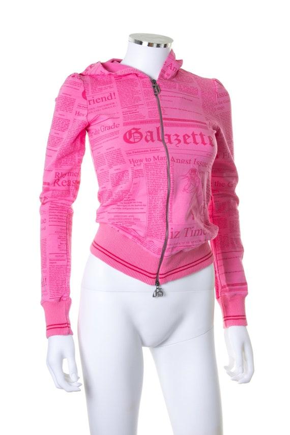 John Galliano Gazette Print Hoodie in Pink