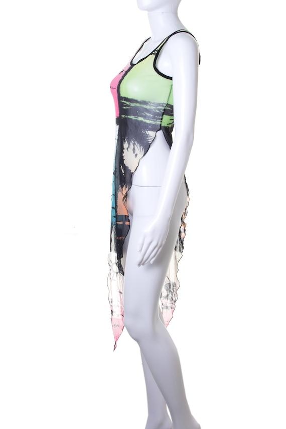 Jean Paul Gaultier 90s Asymmetrical Mesh Top - image 3
