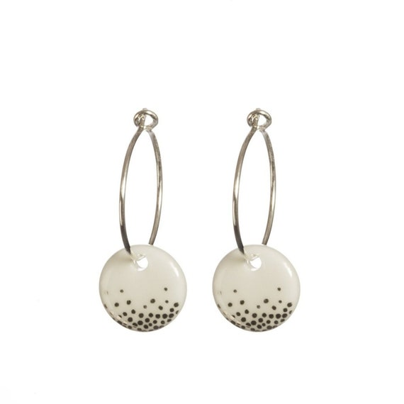White Porcelain Circle and Semicircle Sterling Silver Earrings