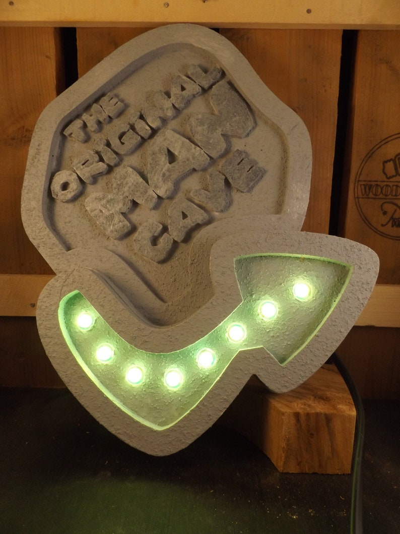 With running lights Flintstone Man Cave sign Cave man