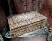 Wood and Shell Box, Vintage Box, Wood Box, Keepsake Box, Hand Carved, Shell Inlay Box, Carved Box, Hinged Lid, Marquetry Box, Old Wood Box