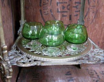 Green Shot Glasses, Tot Glasses, Liqueur Glasses, Shot Glasses, Shot Glass Set, Vintage Shot Glass, Stem Glass, Drinks Glass, Drinks Trolley