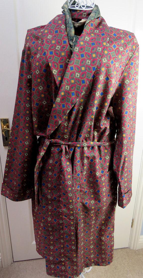 Red Smoking Jacket, Dressing Gown, Geometric Smok… - image 3