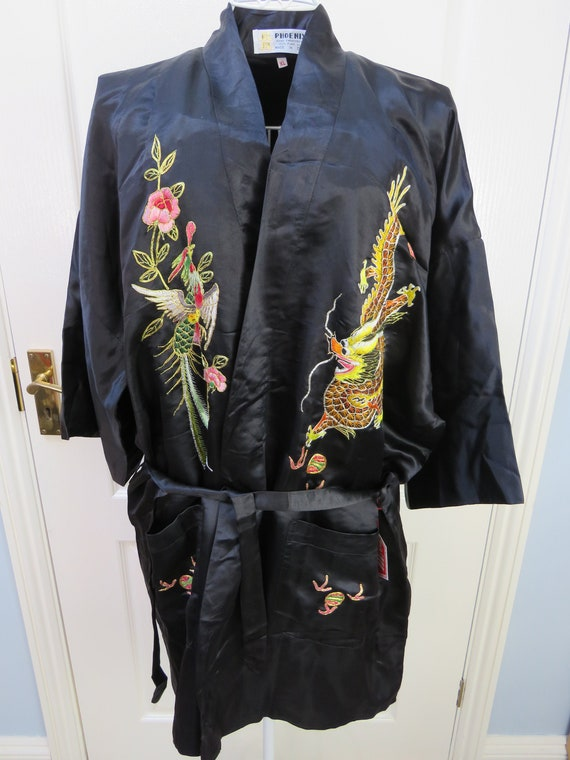 Silk Kimono, Pure Silk Robe, Hand Embroidered, Chi