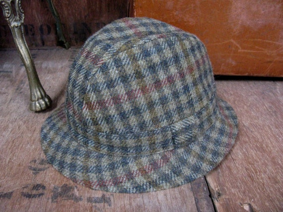 Wool Trilby Hat, Checked Trilby, Plaid Trilby Hat,