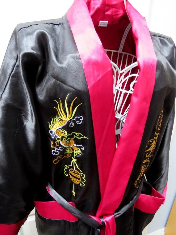 Pure Silk Kimono, Reversible Smoking Jacket, Orien