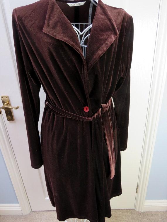 Velvet Housecoat, Velvet Robe, 1990s, Y2K Fashion,