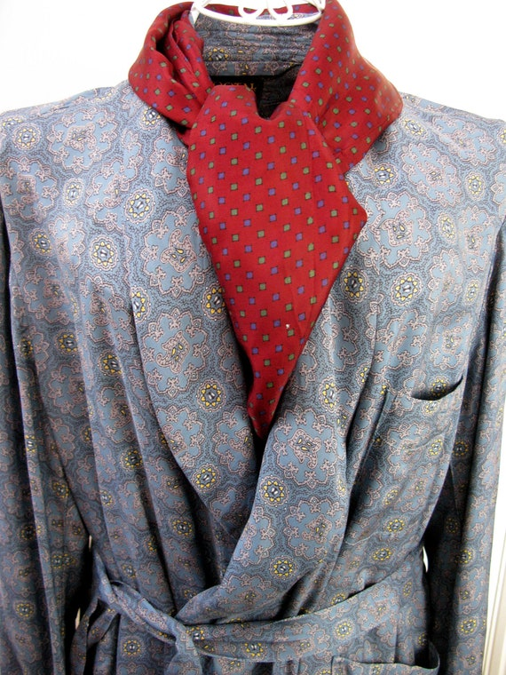Tootal Dressing Gown, Blue Smoking Jacket, Tootal
