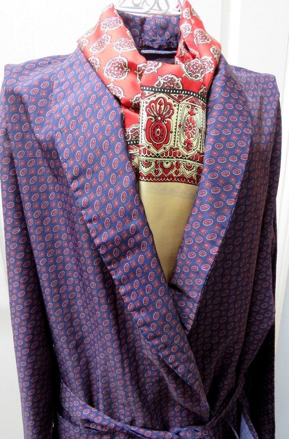 Sammy Smoking Jacket, Geometric Robe, Blue Smoking