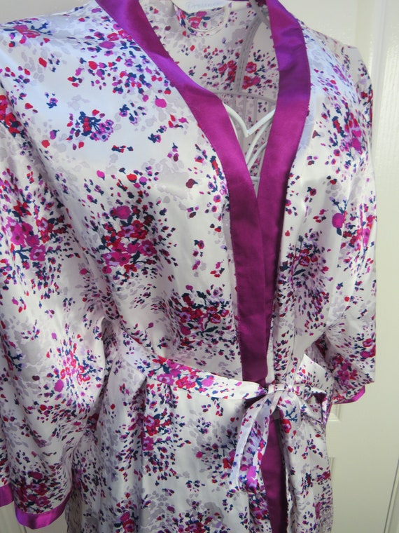 Satin Robe, Pink Floral Robe, Chemise Robe, Dressi