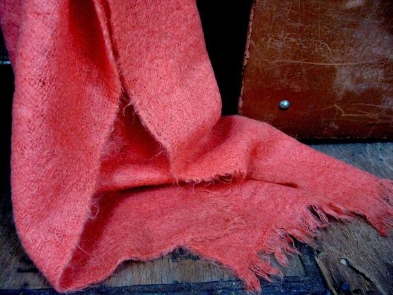 Orange Mohair Shawl, Mohair Shawl, Vintage Wool Sh