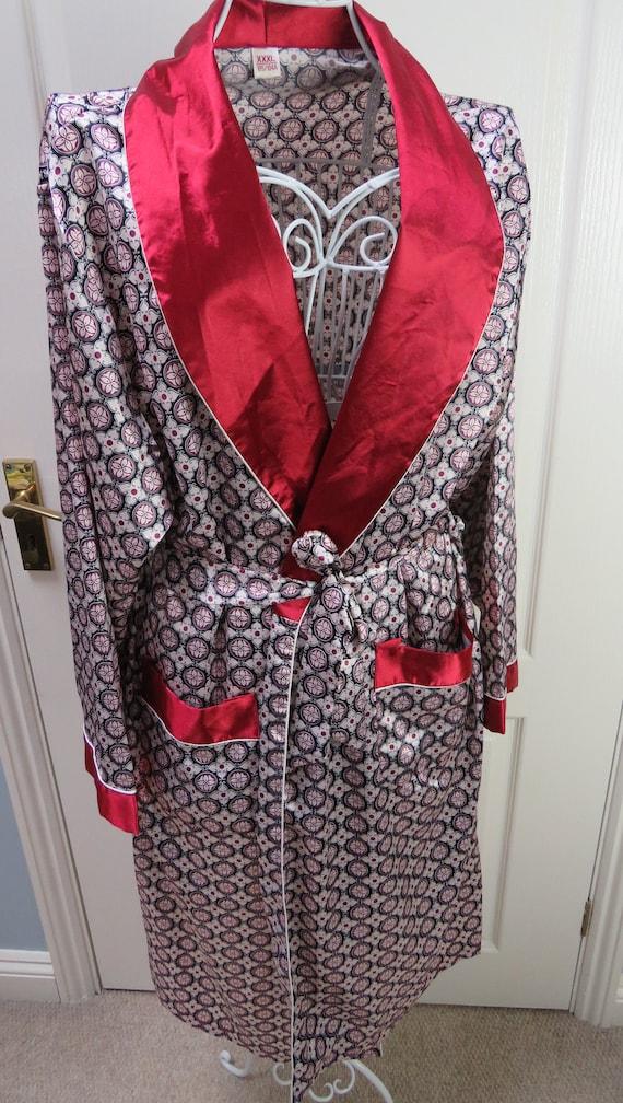 Red Smoking Jacket, Mens Robe, Vintage Smoking Jac