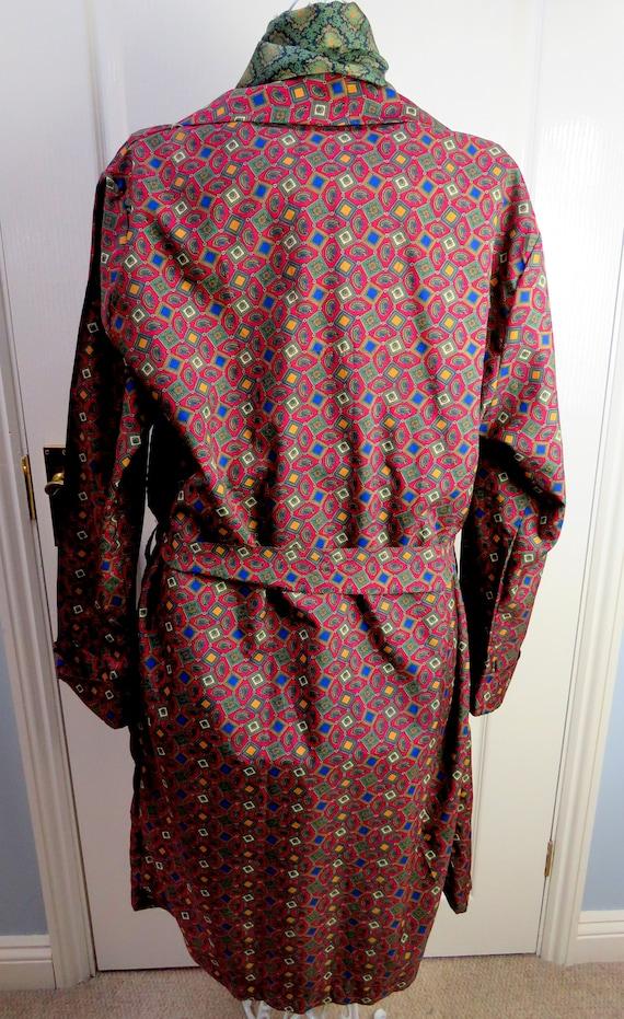 Red Smoking Jacket, Dressing Gown, Geometric Smok… - image 5