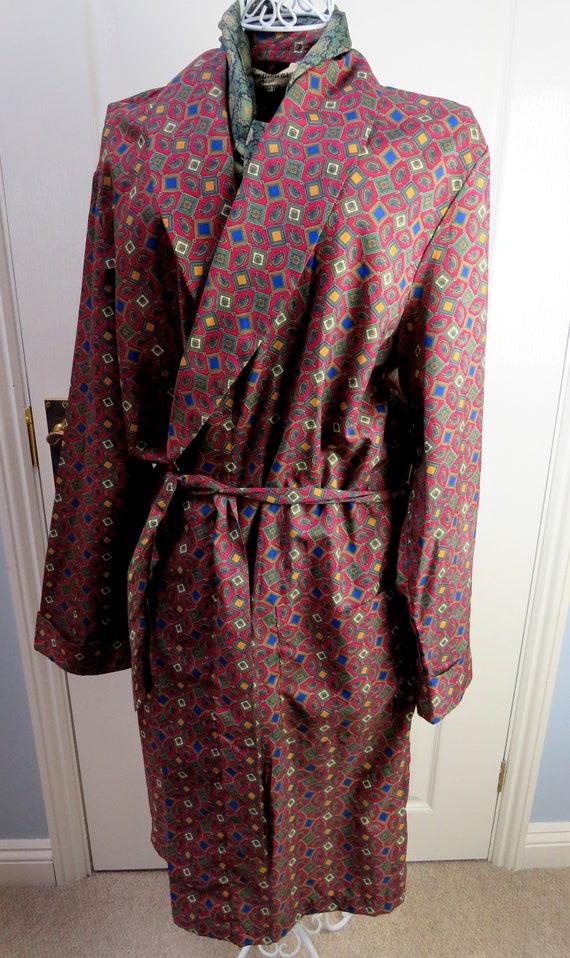 Red Smoking Jacket, Dressing Gown, Geometric Smok… - image 2
