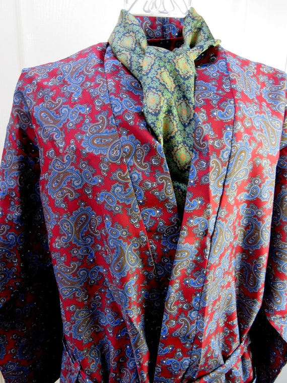 Sammy Smoking Jacket, Paisley Robe, Red Smoking Ja