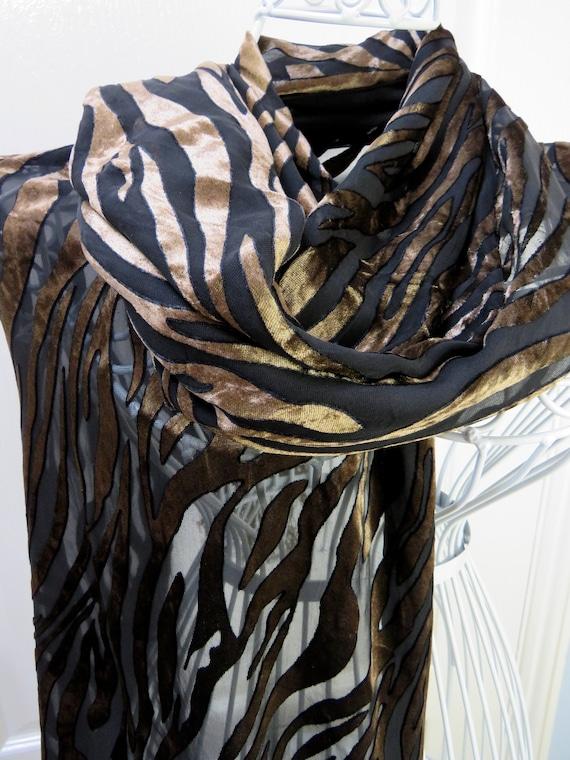 Besarani Silk Velvet Shawl, Tiger Stripe, Animal P