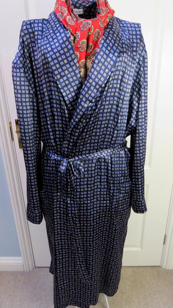 Blue Geometric Robe, Navy Smoking Jacket, Dressing