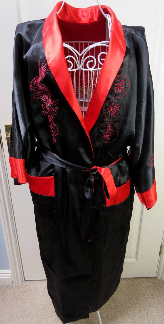 Reversible Smoking Jacket, Oriental Robe, Satin Ro