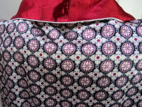 Red Smoking Jacket, Mens Robe, Vintage Smoking Ja… - image 4