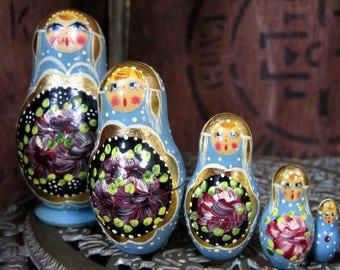 Russian Dolls, Nesting Dolls, Painted Dolls, Set of Dolls, Vintage Russian Dolls, Wooden Dolls, Painted, Matryoshka Dolls, Babushka Dolls