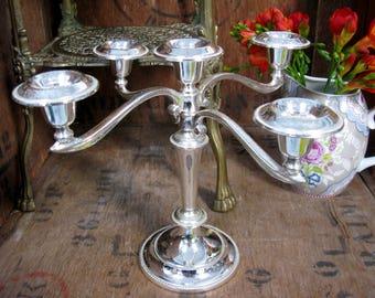 Quintuple Candelabra, Silver Plated Candelabra, Vintage Candelabra, Five Stem Candelabra, Silver Candelabra, Elegant Candelabra, Dining