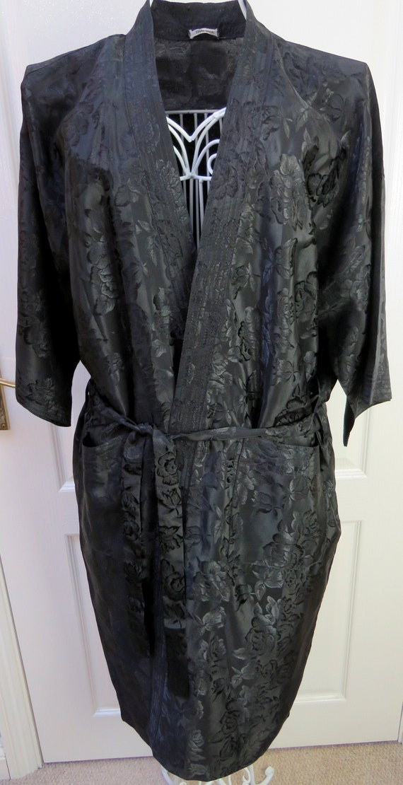 Thai Silk Robe, Black Silk Robe, Dressing Gown, Si