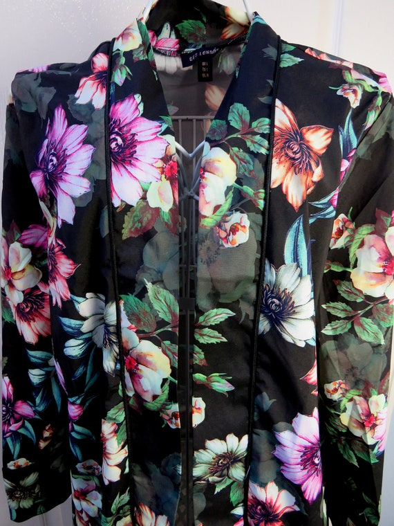 Floral House Coat, Black Floral, Dressing Gown, Lo