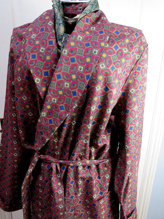 Red Smoking Jacket, Dressing Gown, Geometric Smok… - image 1