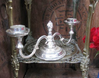 Double Candelabra, Silver Plated Candelabra, Vintage Candelabra, Double Stem Candelabra, Double Candelabra, Engraved Candelabra, 1960s Decor