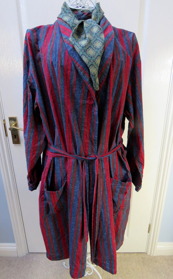 Striped Smoking Jacket, Made In UK, Red Smoking Ja