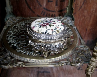 Tapestry Jewelry Box, Silver Trinket Box, Footed Box, Silver Trinket Stow, Silver Jewelry Box, Vintage Trinket Box, Floral Box, Tapestry Box