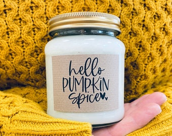 Pumpkin Spice Scented Natural Soy Candle, Pumpkin Pie, Autumn, Scented candle, Cosy, Vegan Friendly, candle, jar, apothecary jar