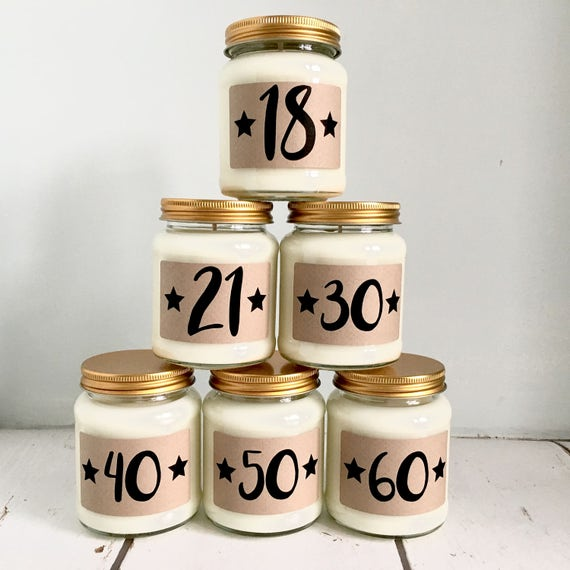 Birthday Age Scented Candle 18th 21st 30th 40th 50th
