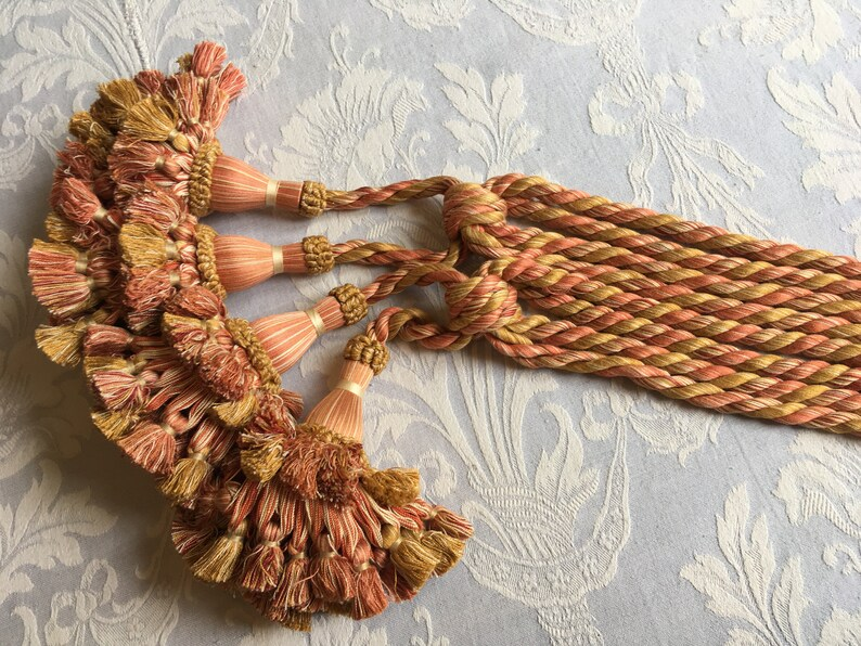 French curtain tiebacks Tassels French Decor frothy pom poms. pinkgold vintage pair of 1940/'s curtain ties fluffy holdbacks