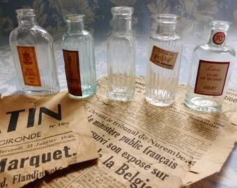 French vintage 5 beautiful miniature perfume bottles,1940's, divine antique, apothecary, plant extract bottle, Paris antique collectable.